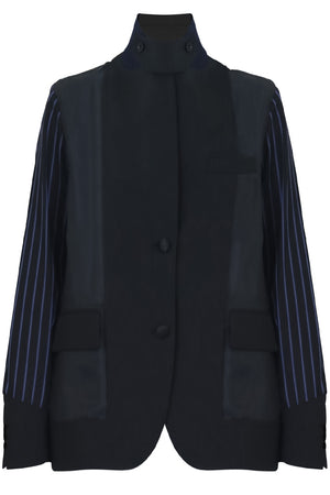 CONTRAST SLEEVE JACKET BLACK