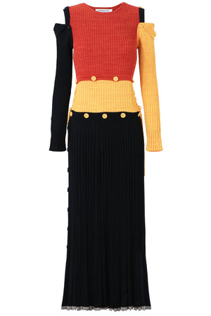 COLOUR BLOCK DECONSTRUCTED KNIT DRESS L/S KNIT DRESS MULTI