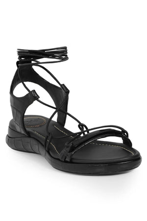 WAVE CROC EMBOSSED SANDAL BLACK