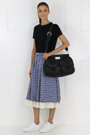 LAYERED INKJET SKIRT NAVY/NATURAL