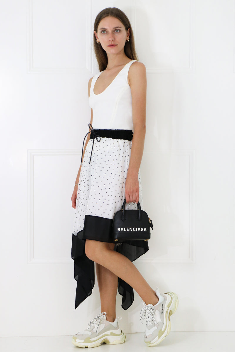 ASYMMETRIC POLKADOT SKIRT WHITE