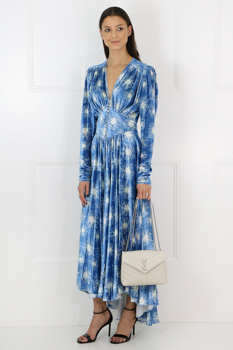 STAR PRINT VELVET DRESS L/S BLUE