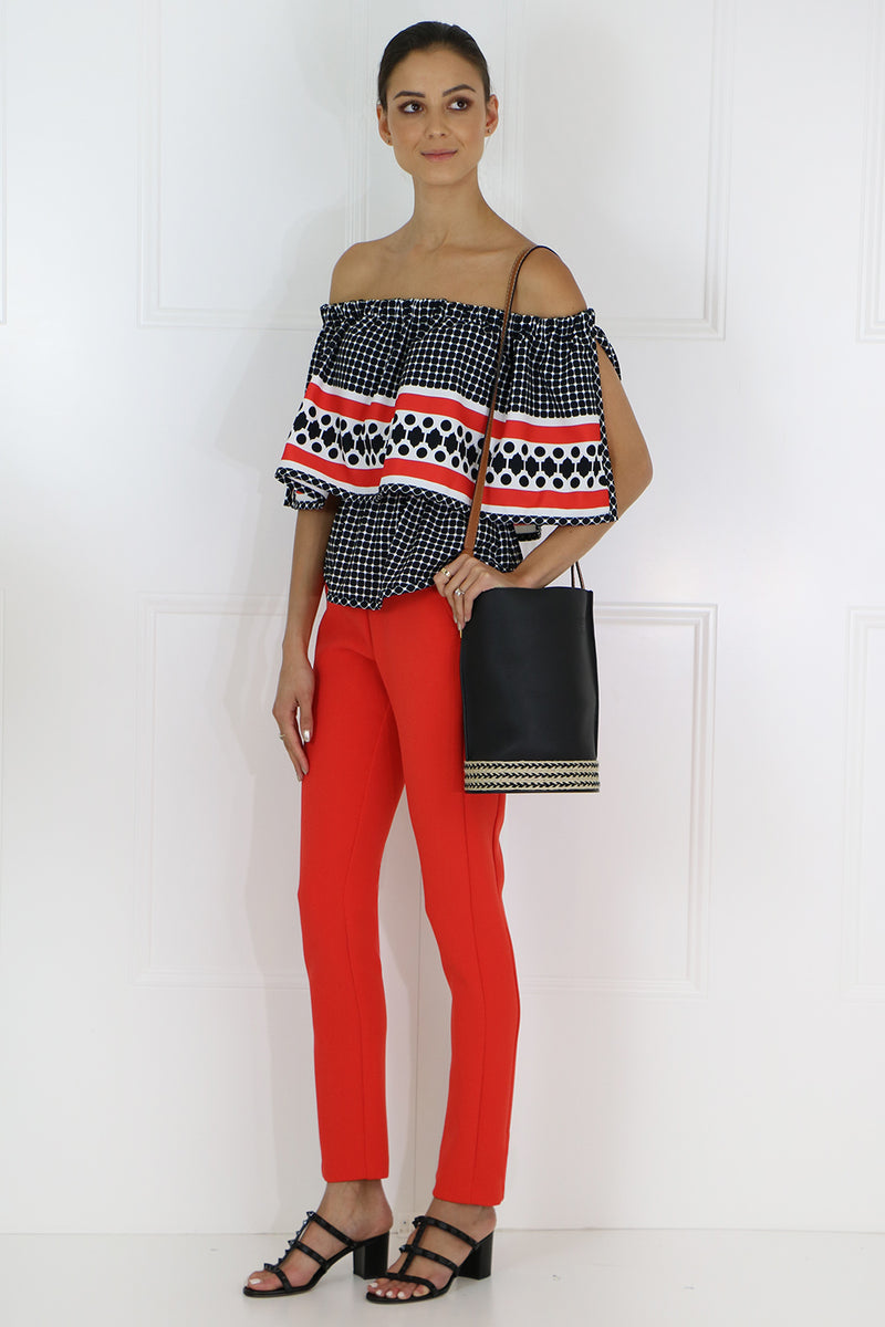 QUATRE SAISON RUFFLE TOP RED