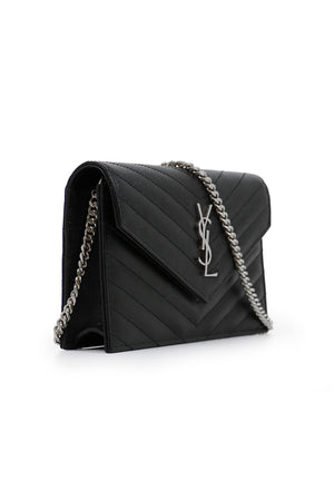 MONOGRAMME ENVELOPE QUILTED CHAIN WALLET BLACK/SILVER