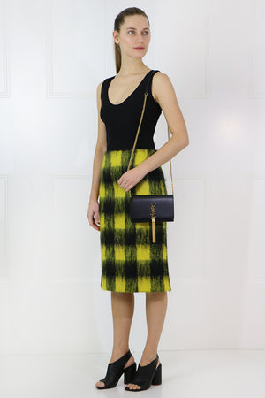 HAIRY CHECK SKIRT YELLOW/BLACK