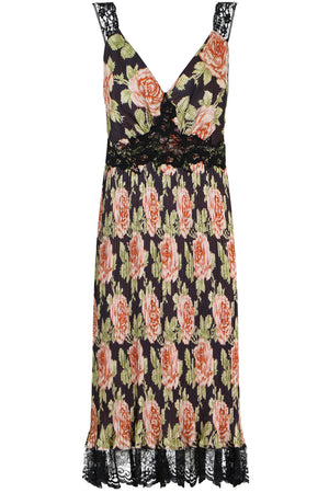 CONTRAST LACE MIDI DRESS S/LESS BLACK ROSES