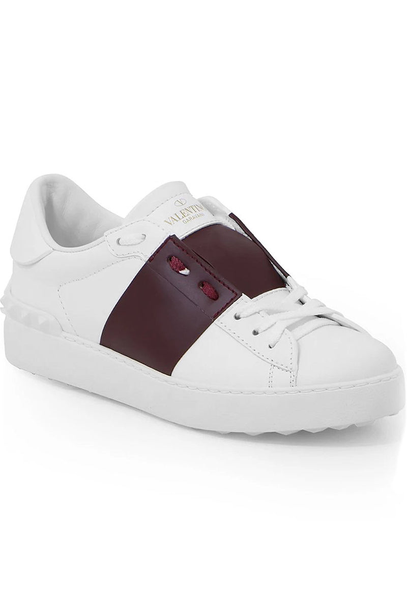 OPEN SNEAKER WITH LACES AND LEATHER STRIPE WHITE/RUBINO