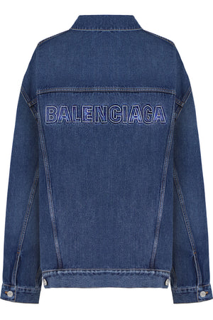 OVERSIZED EMBOSSED LOGO DENIM JACKET INDIGO