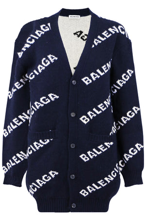 LOGO CARDIGAN NAVY/WHITE