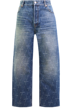 LASERED LOGO CROPPED JEANS DARK BLUE