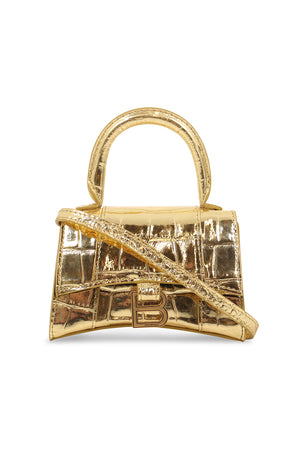 MINI HOURGLASS BAG GOLD CROC EMBOSSED