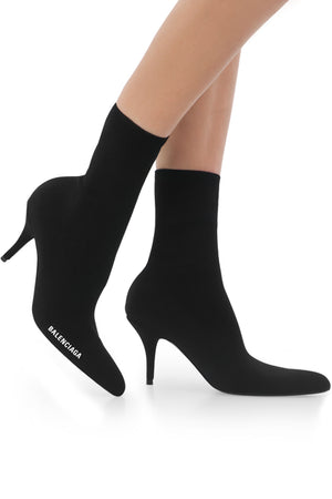 LOGO KNIT ANKLE BOOT 80MM BLACK