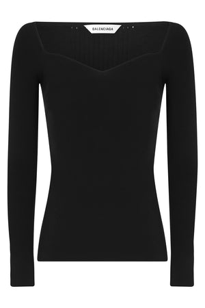 HEARTNECK KNIT TOP L/S BLACK