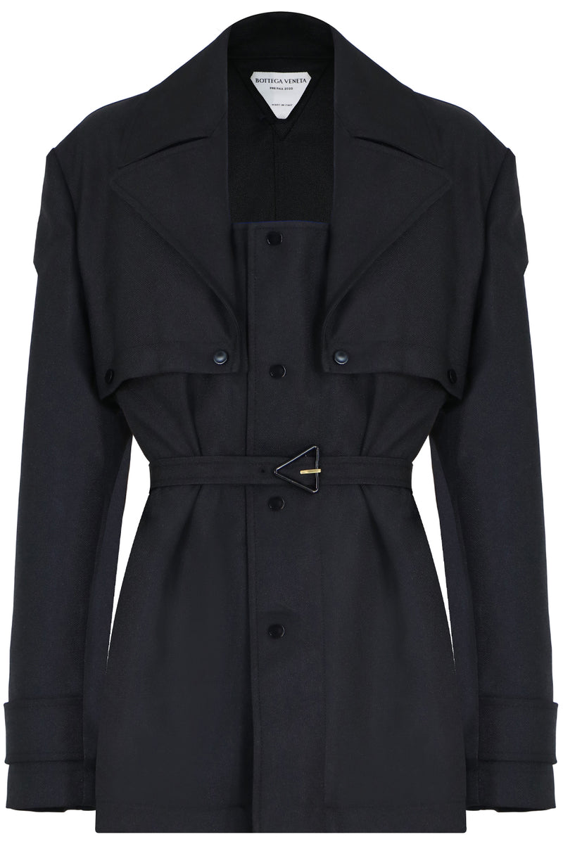 BELTED TRENCH JACKET BLACK