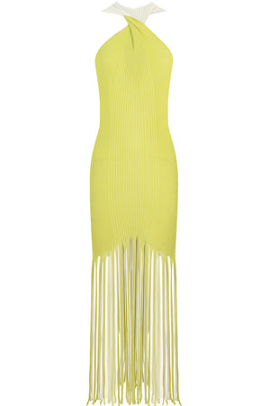 TWIST BACK FRINGE DRESS ACID