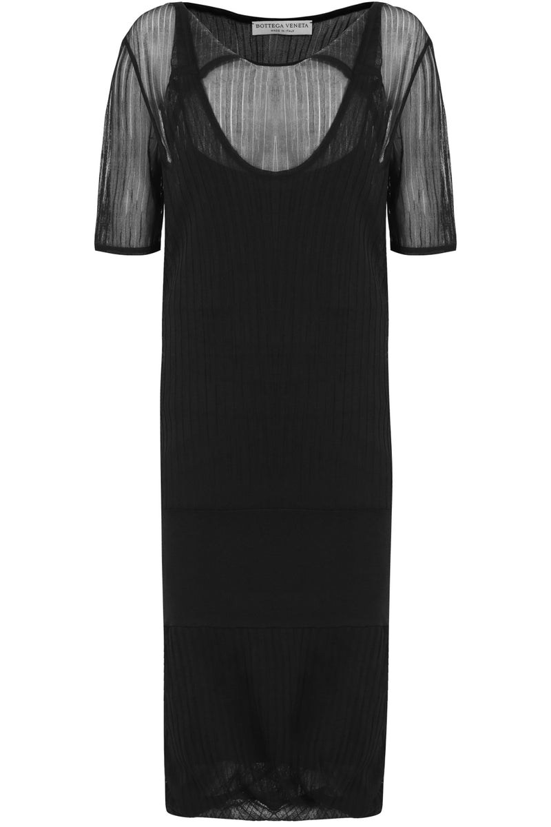 SHEER RIB KNIT DRESS S/S BLACK