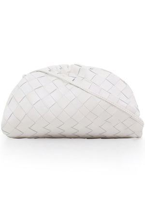 THE POUCH 20 WOVEN LEATHER WHITE