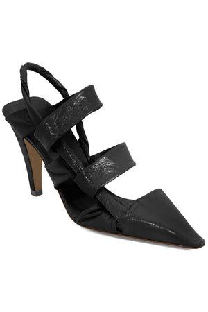 POINT TWISTED STRAP HEEL 9CM BLACK