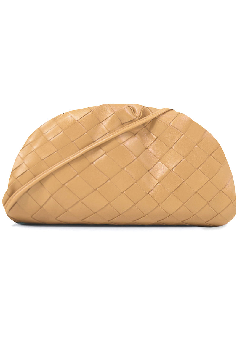 THE POUCH 20 WOVEN LEATHER ALMOND