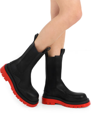 TIRE BOOTS WITH RED SOLE BLACK
