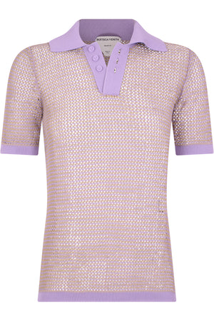 MESH POLO TOP S/S WISTERIA PURPLE