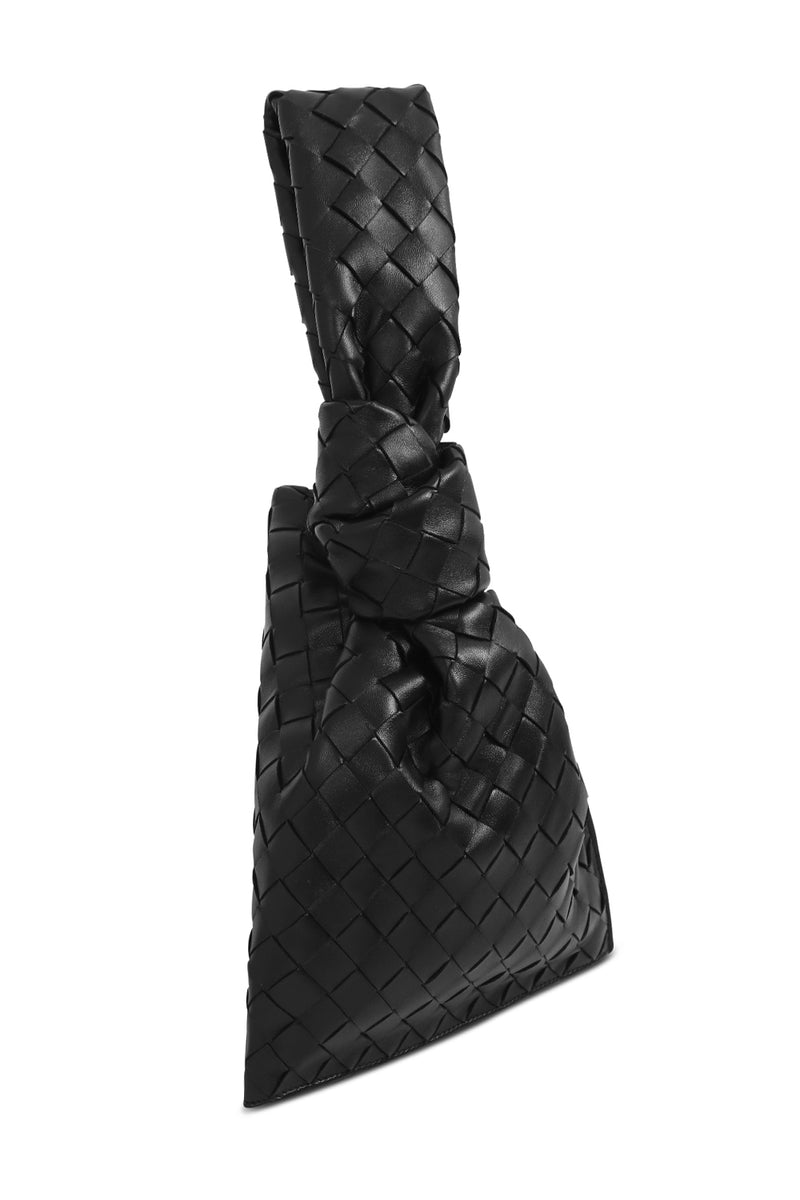 MINI TWIST BAG WOVEN LEATHER BLACK