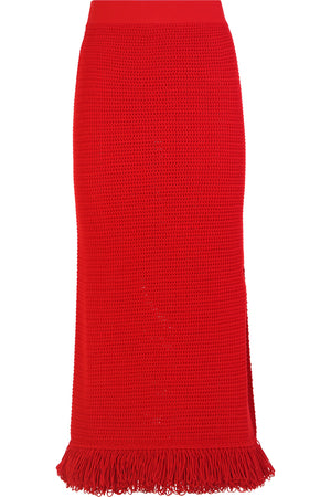 CROCHET KNIT MIDI SKIRT LIPSTICK RED