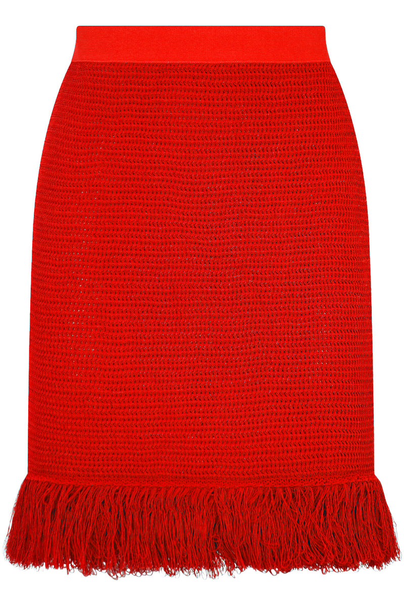 RACKED MESH MINI SKIRT TOMATO