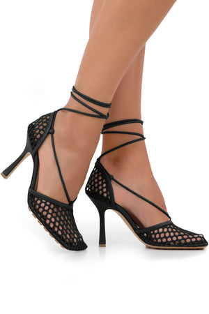 WEB STRETCH SANDALS 90MM BLACK