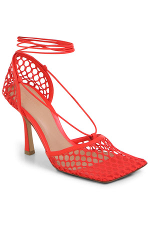 WEB STRETCH SANDALS 90MM TOMATO