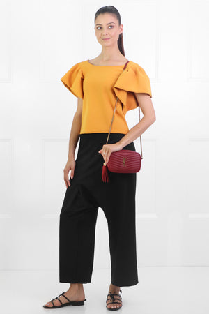 TISSUE CROP TOP WITH PUFF SLEEVE EARTH