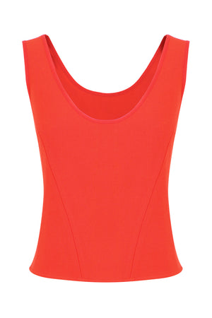 TISSUE BODICE TOP S/LESS RED