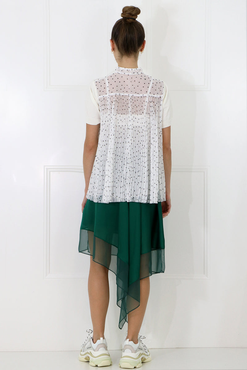 POLKADOT PLEATED BACK KNIT S/S WHITE