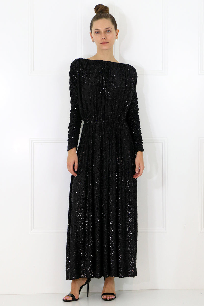SEQUINED MAXI DRESS L/S BLACK