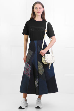 PATCHWORK DENIM MIDI SKIRT INDIGO
