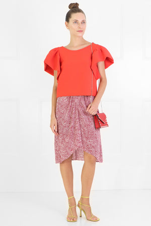 ETOILE OMALY PRINTED SKIRT RED