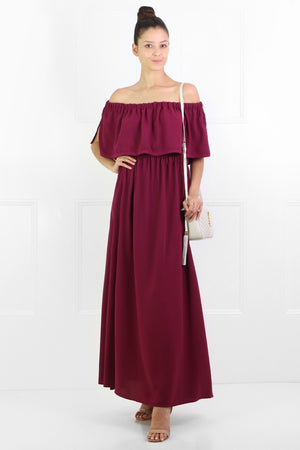 FLUID OFF-SHOULDER DRESS RASPBERRY