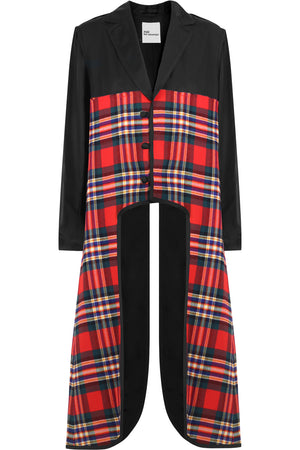 NOIR TARTAN LONG COAT BLACK/RED