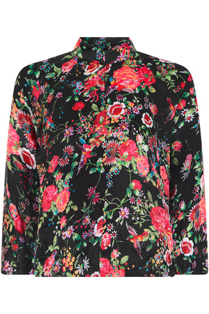 FLORAL PRINT BLOUSE L/S RED/BLACK