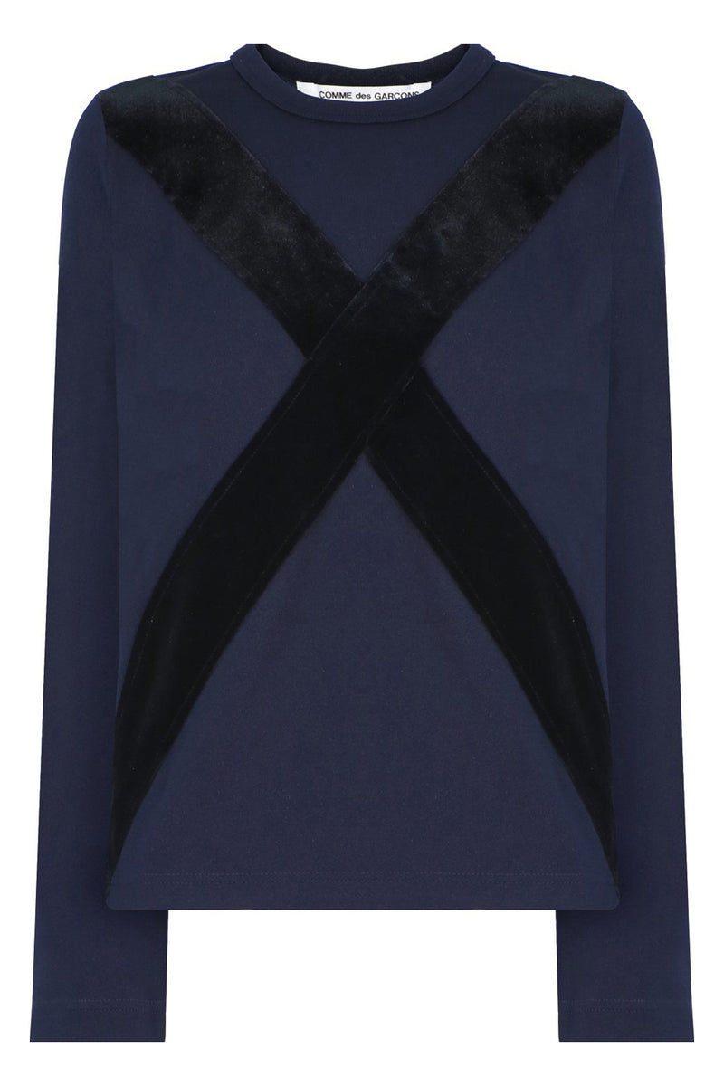 CROSS EMBROIDERED T-SHIRT L/S NAVY