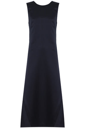 LOW BACK MAXI DRESS S/LESS DARK BLUE