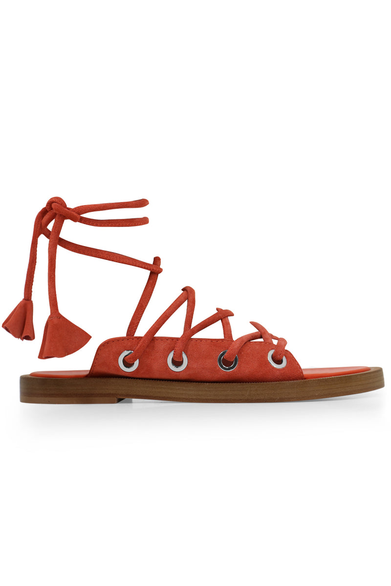 CHUNKY LACE UP SANDAL ORANGE SUEDE