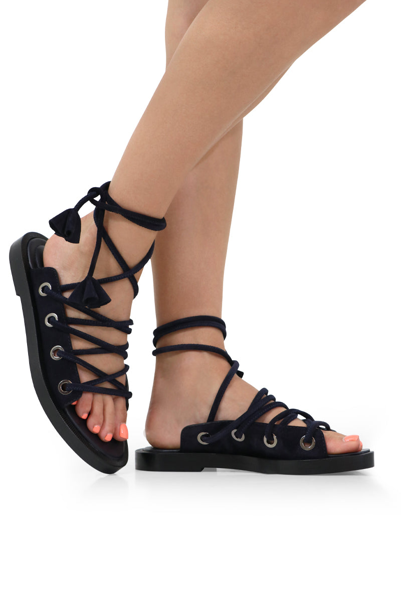 CHUNKY LACE UP SANDAL DARK BLUE SUEDE