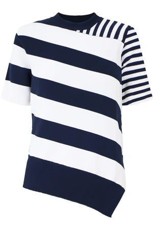 ASYMMETRIC STRIPE KNIT TOP S/S NAVY/WHITE