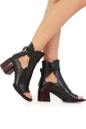 OPEN BOOT WITH CHUNKY HEEL 60MM BLACK
