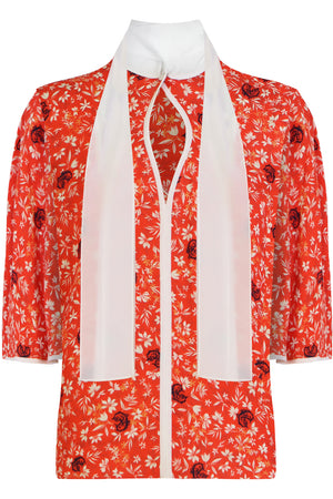 FLORAL PRINT BLOUSE 3/4SL BUBBLING ORANGE