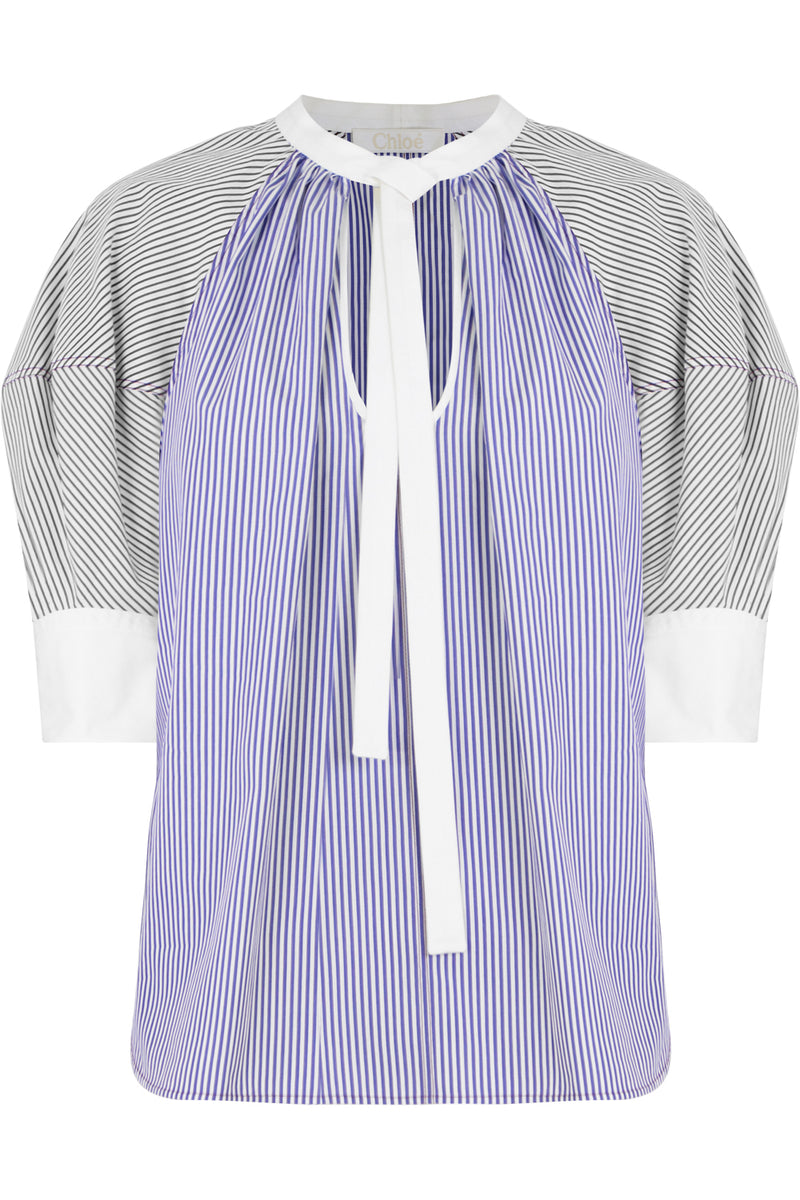 STRIPE PUFF SLEEVE BLOUSE S/S BLUE