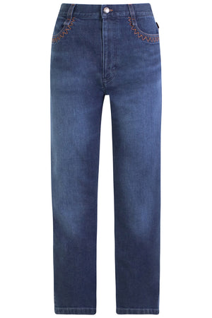 CROPPED STRAIGHT LEG JEANS BLUE DENIM