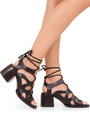 GAILE LACE-UP SANDALS 60MM BLACK