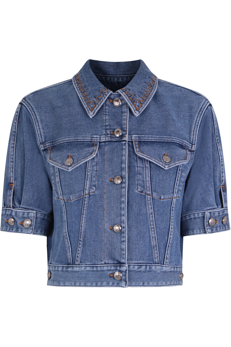 CROPPED DENIM JACKET S/S MOONLIGHT BLUE